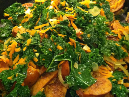 kale and andouille sausage with saba