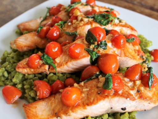 pan-fried salmon with lentils